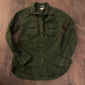 Merona forest green long sleeve button down shirt